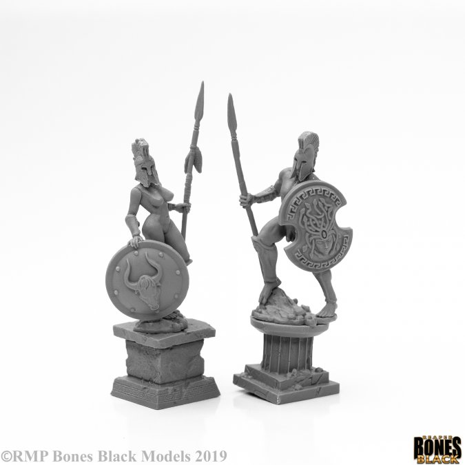 Amazon and Spartan Living Statues (Bronze)