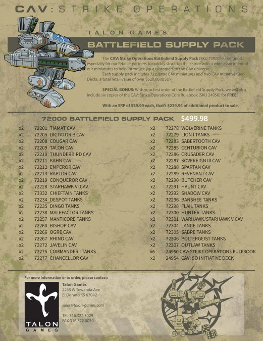 CAV:SO Battlefield Supply Pack