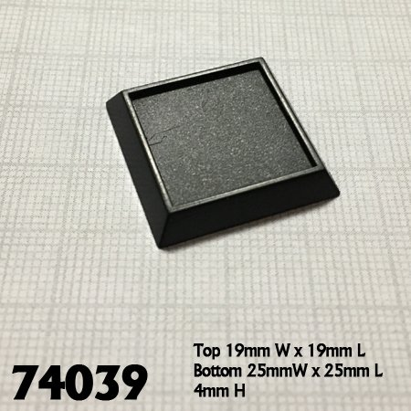 "1"" Square Plastic Gaming Base (no slot) (20)"