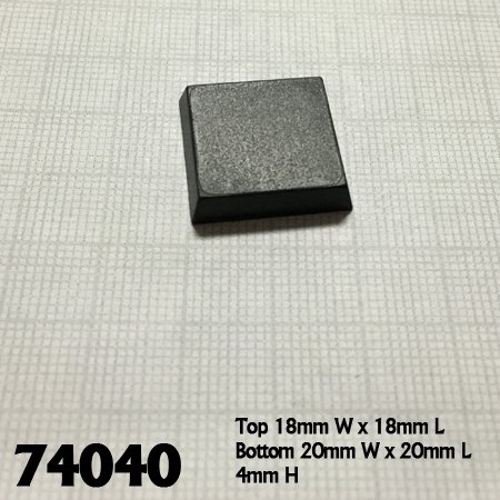 20mm Square Plastic Flat Top Base (25)