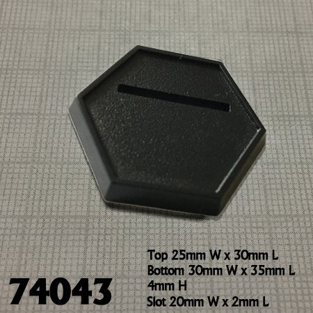 1 Inch Black Slotted Hex Gaming Base (20)