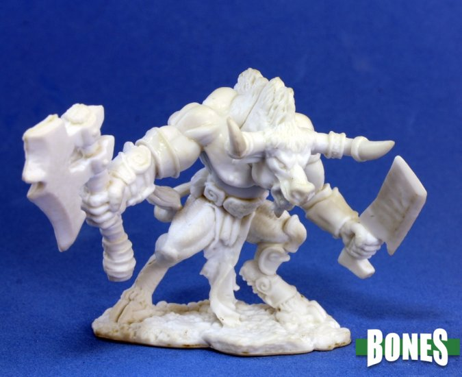 Reaper Miniatures - Bones Minotaur with Battleaxe and Cleaver