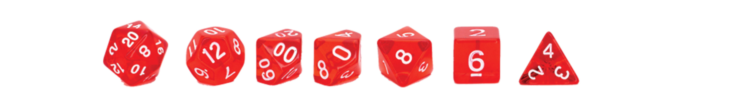 A lineup of red dice from a D4 to D20.