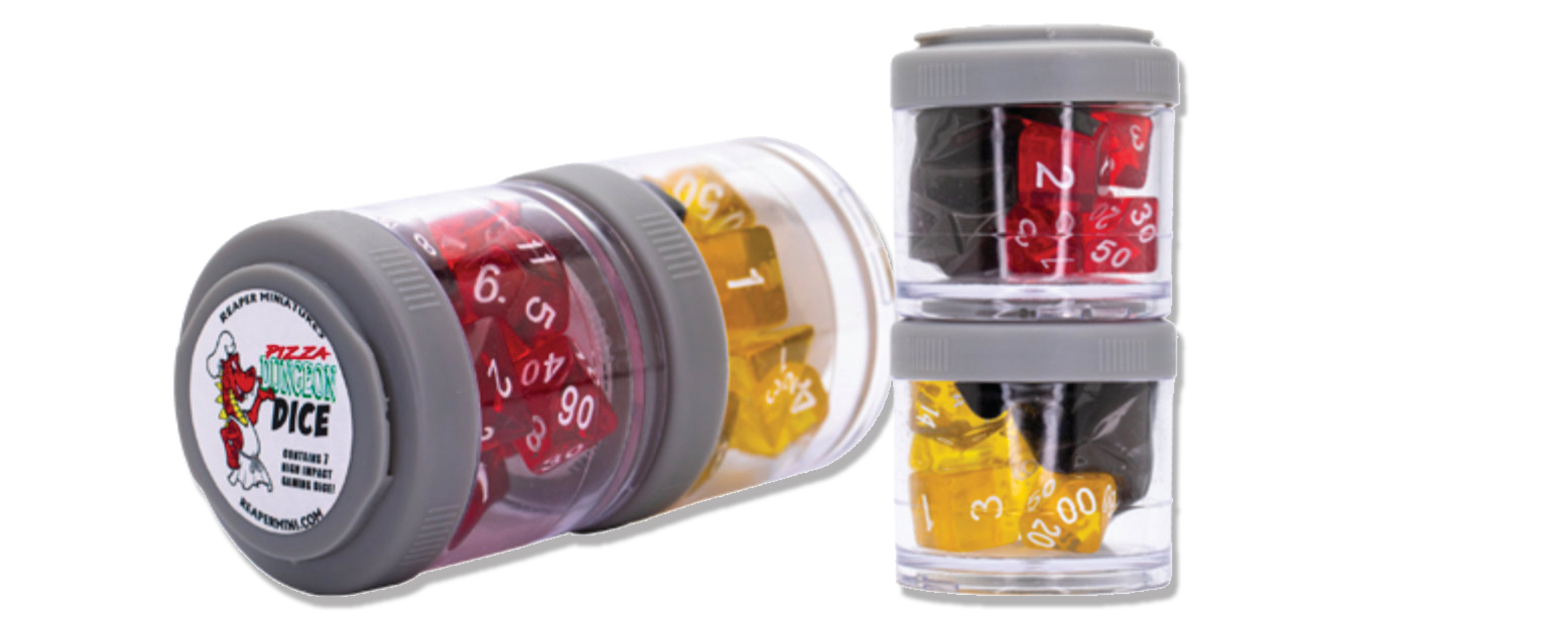 Dice Shakers stacked attractively.